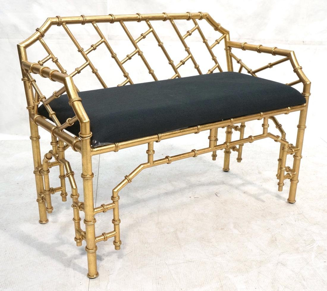 Gold Painted Faux Bamboo Metal Love Seat Bench. B