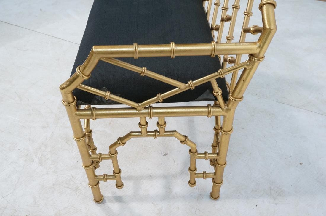 Gold Painted Faux Bamboo Metal Love Seat Bench. B - 2