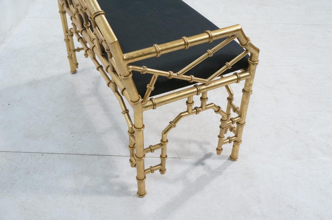 Gold Painted Faux Bamboo Metal Love Seat Bench. B - 3