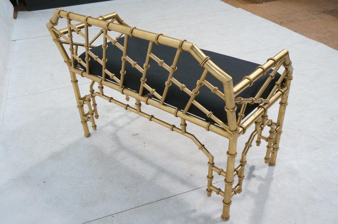 Gold Painted Faux Bamboo Metal Love Seat Bench. B - 4