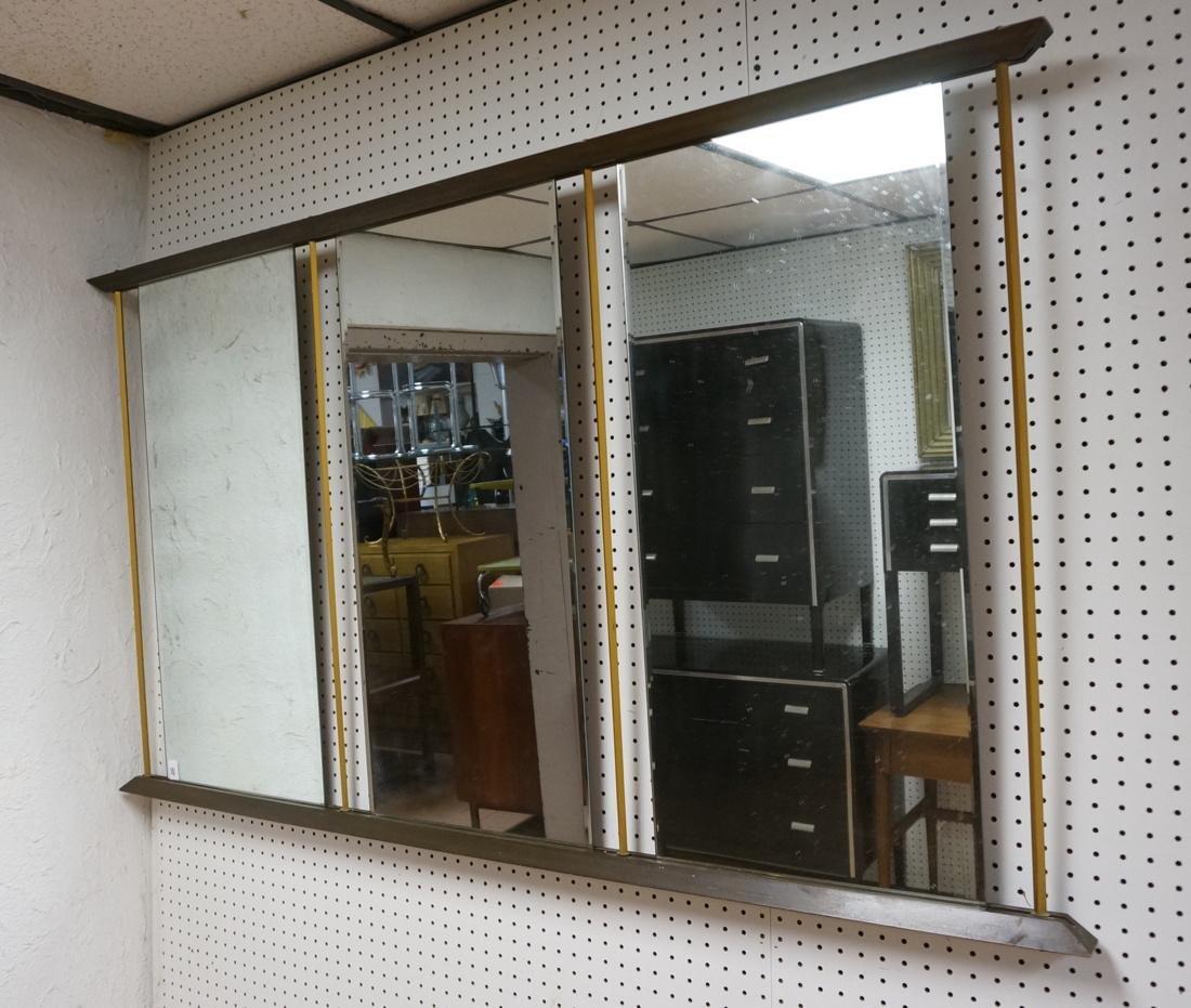 Modern American Walnut 3 Part Wall Mirror. Bevele