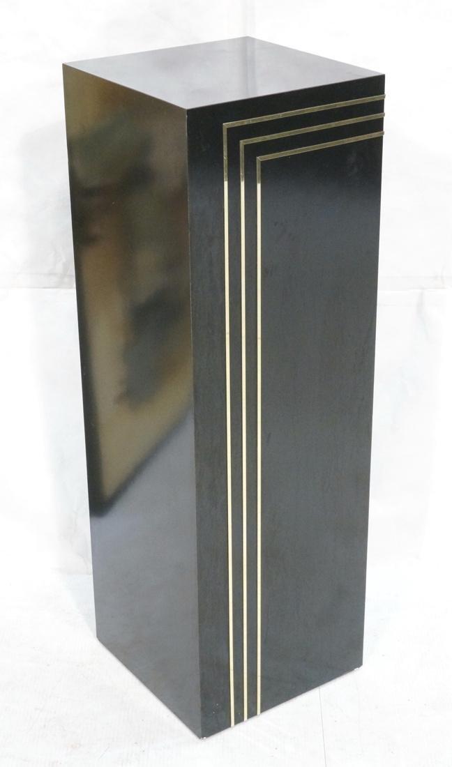 Modern Black & Brass Square Display Pedestal. Bla