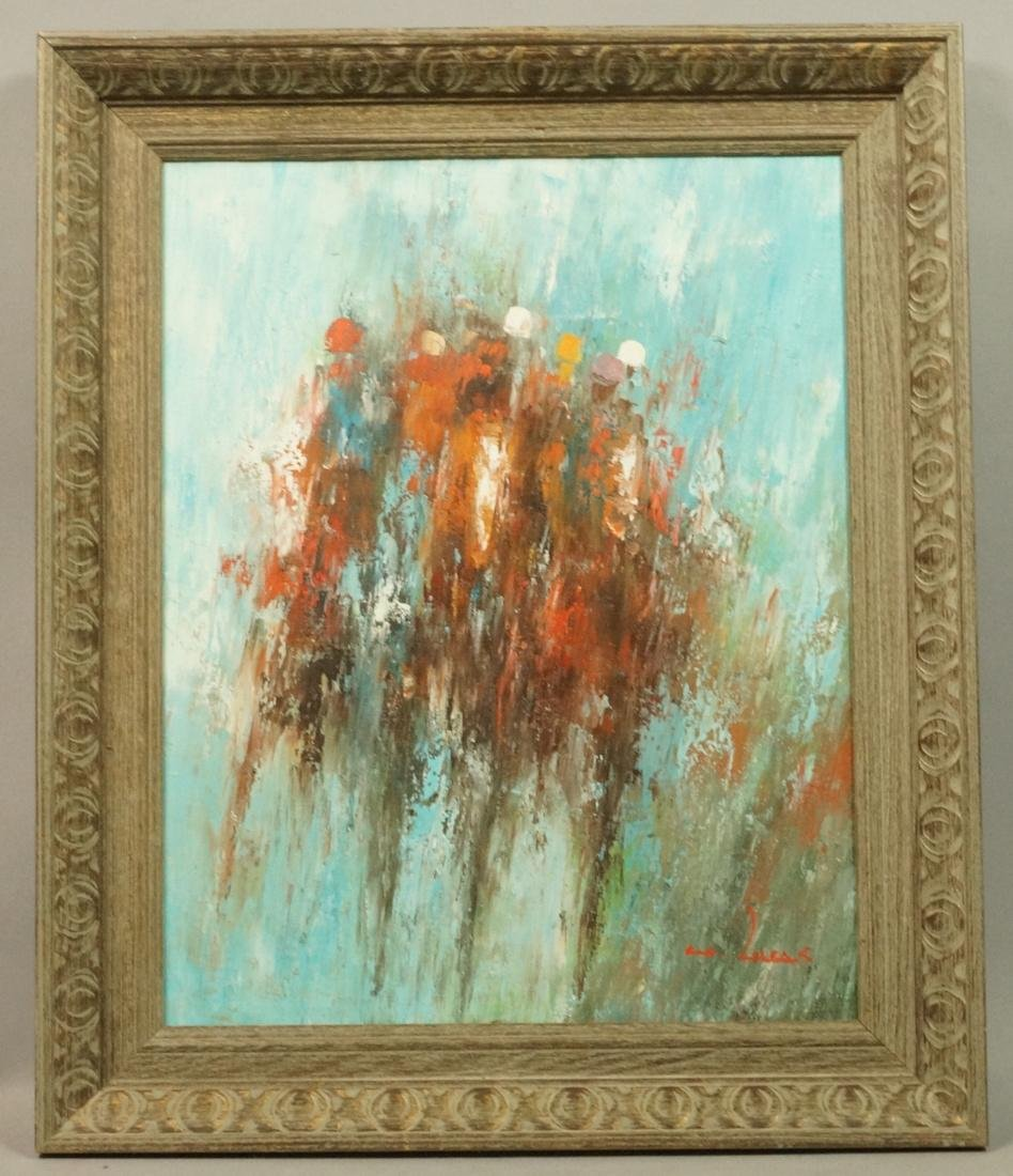 WILLIAM LUCAS Modernist Oil Painting Jockeys and - 2