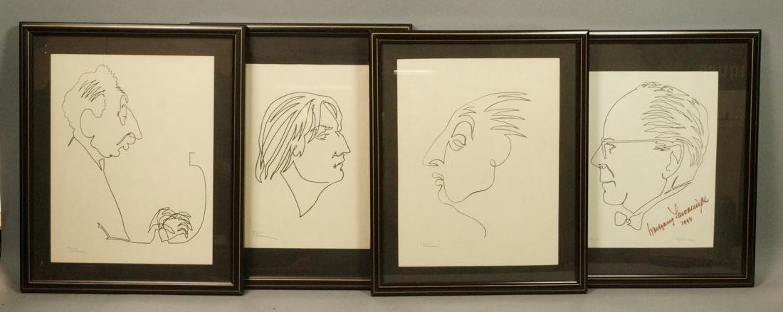 4 BEN WOLF One Line Portrait Drawings. Philadelph