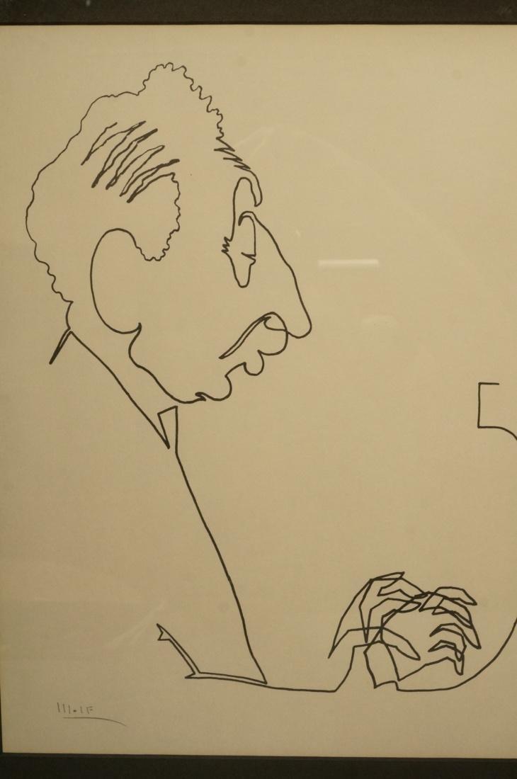 4 BEN WOLF One Line Portrait Drawings. Philadelph - 2