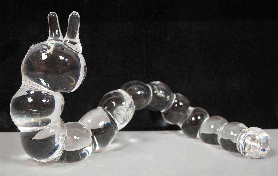 STEUBEN Crystal Caterpillar Inchworm Sculpture wi