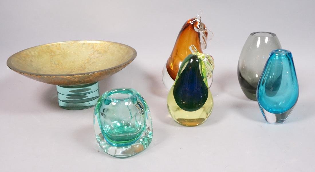 6 pc Art Glass Lot American Italian Scandinavian.
