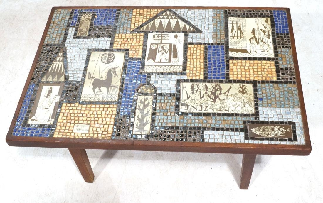 Signed HOLLEMAN Decorative Tile Top Coffee Table.
