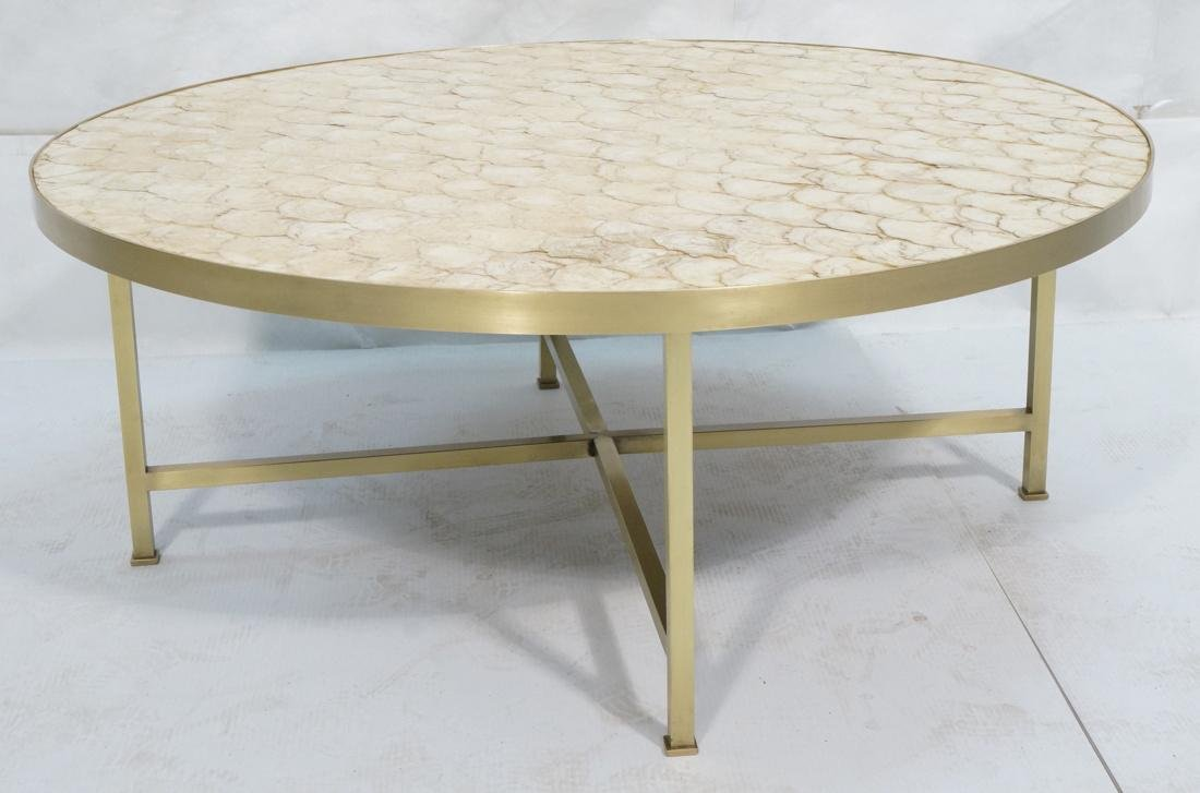 Modernist Round Capiz Shell Cocktail Coffee Table