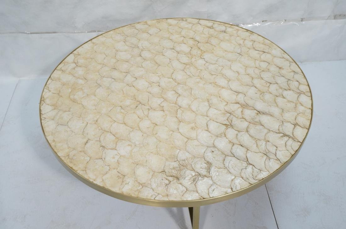 Modernist Round Capiz Shell Cocktail Coffee Table - 2