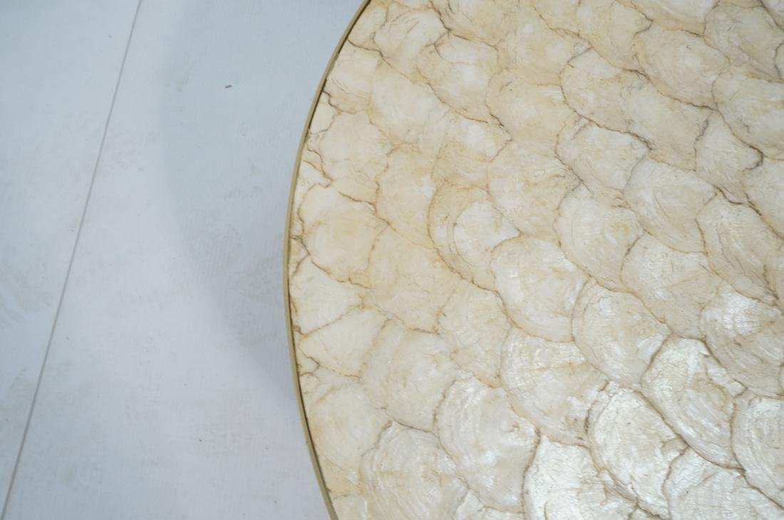 Modernist Round Capiz Shell Cocktail Coffee Table - 4