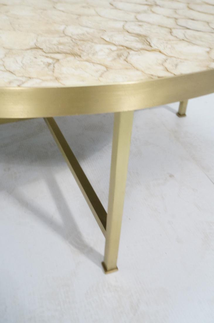 Modernist Round Capiz Shell Cocktail Coffee Table - 5