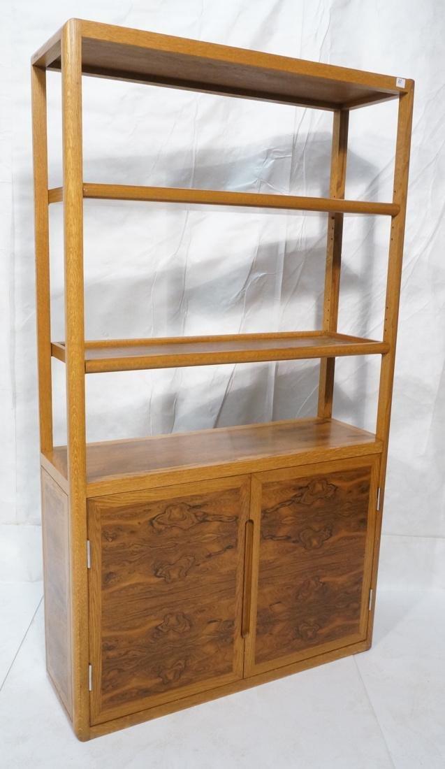 DUNBAR Rosewood & Oak Etagere Cabinet. Curved oak