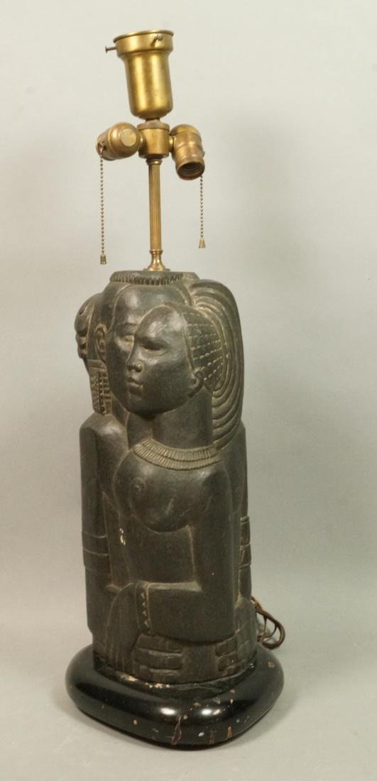Signed ENID BE Carved Stone Tribal Sculpture Lamp
