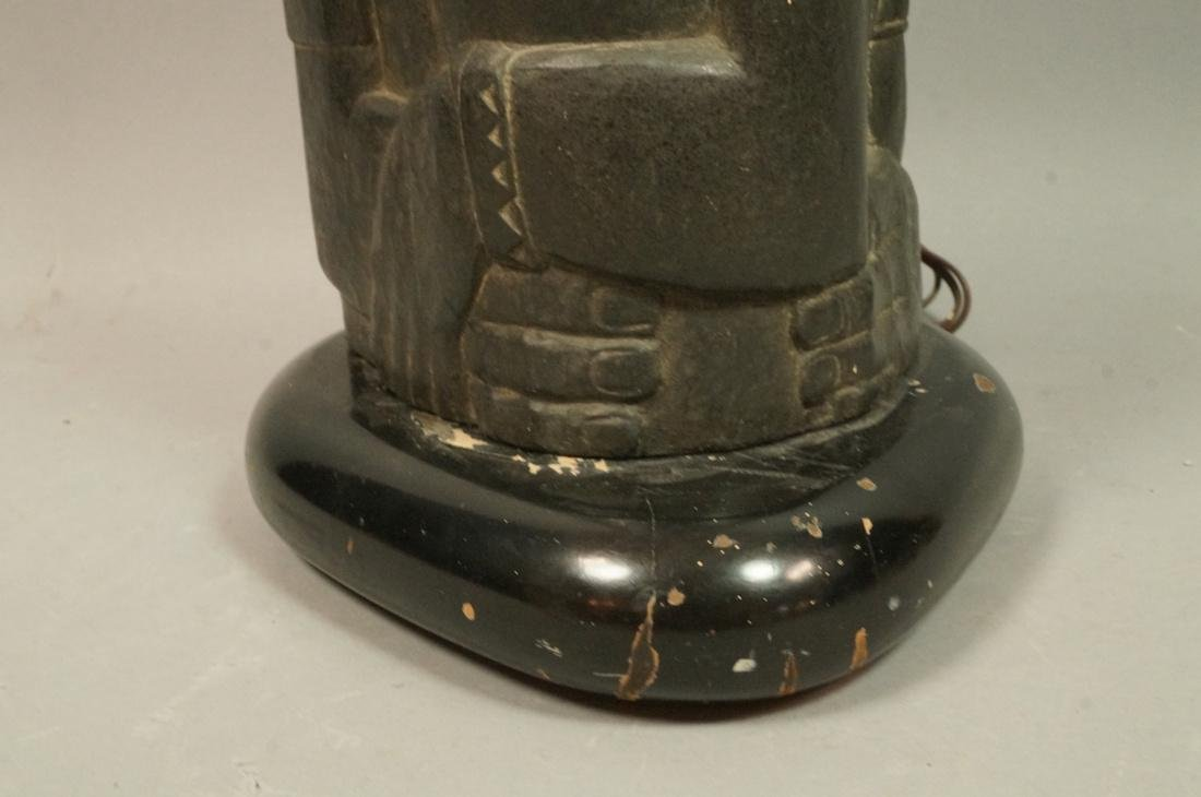 Signed ENID BE Carved Stone Tribal Sculpture Lamp - 2