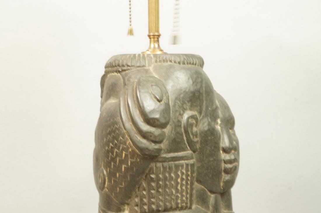 Signed ENID BE Carved Stone Tribal Sculpture Lamp - 6