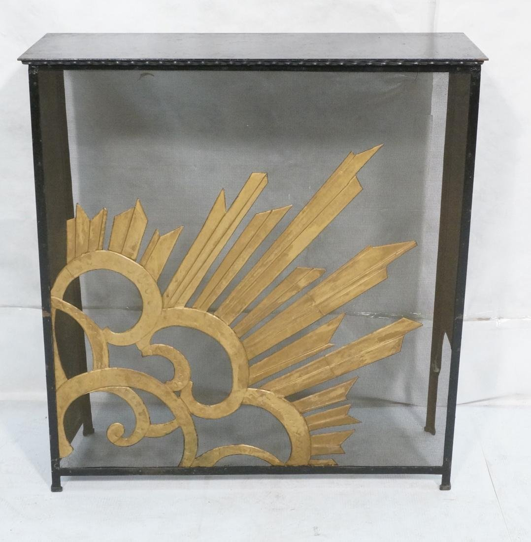 Art Deco Vintage Iron Console Table. Metal top on