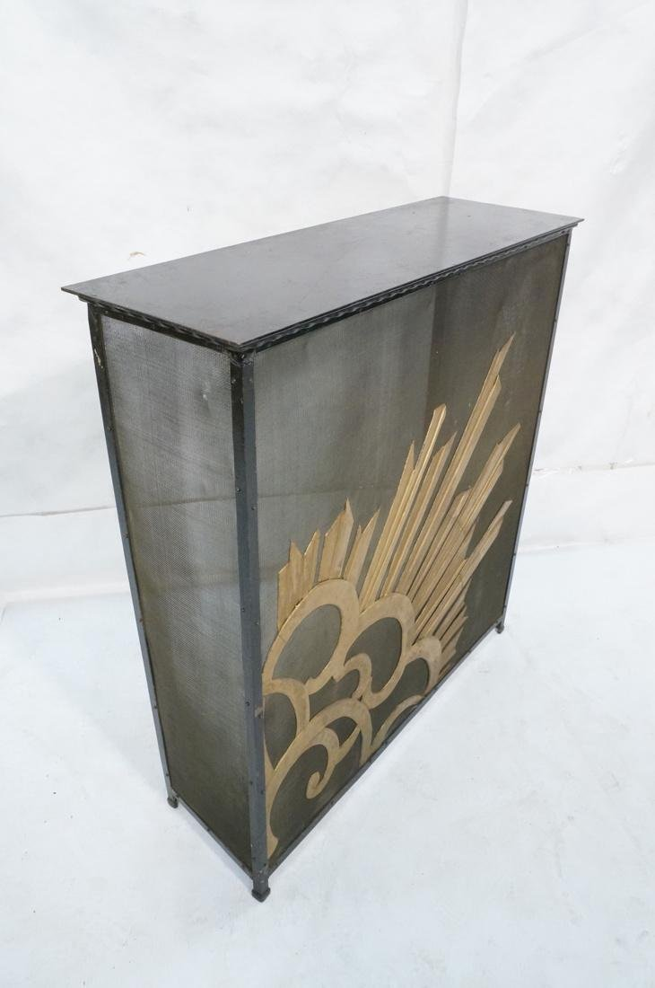 Art Deco Vintage Iron Console Table. Metal top on - 6
