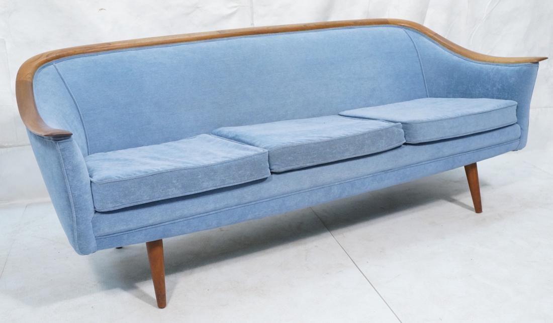 Modernist Teak Sofa Couch. Wedgwood Blue Fabric.