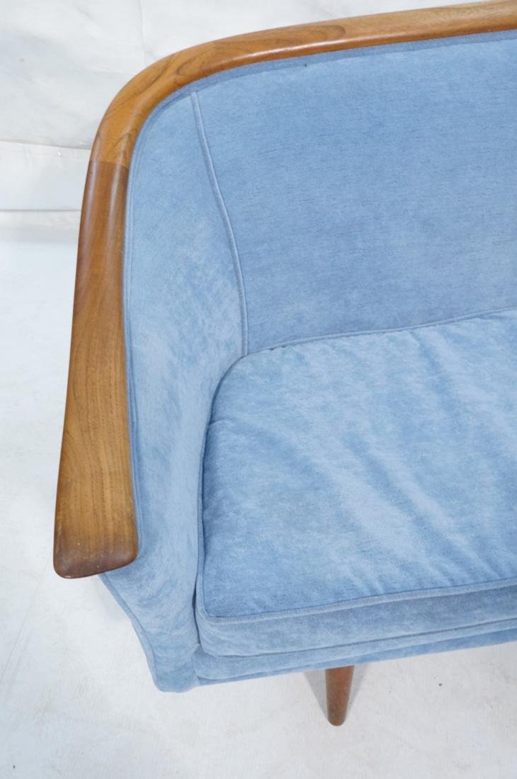 Modernist Teak Sofa Couch. Wedgwood Blue Fabric. - 2