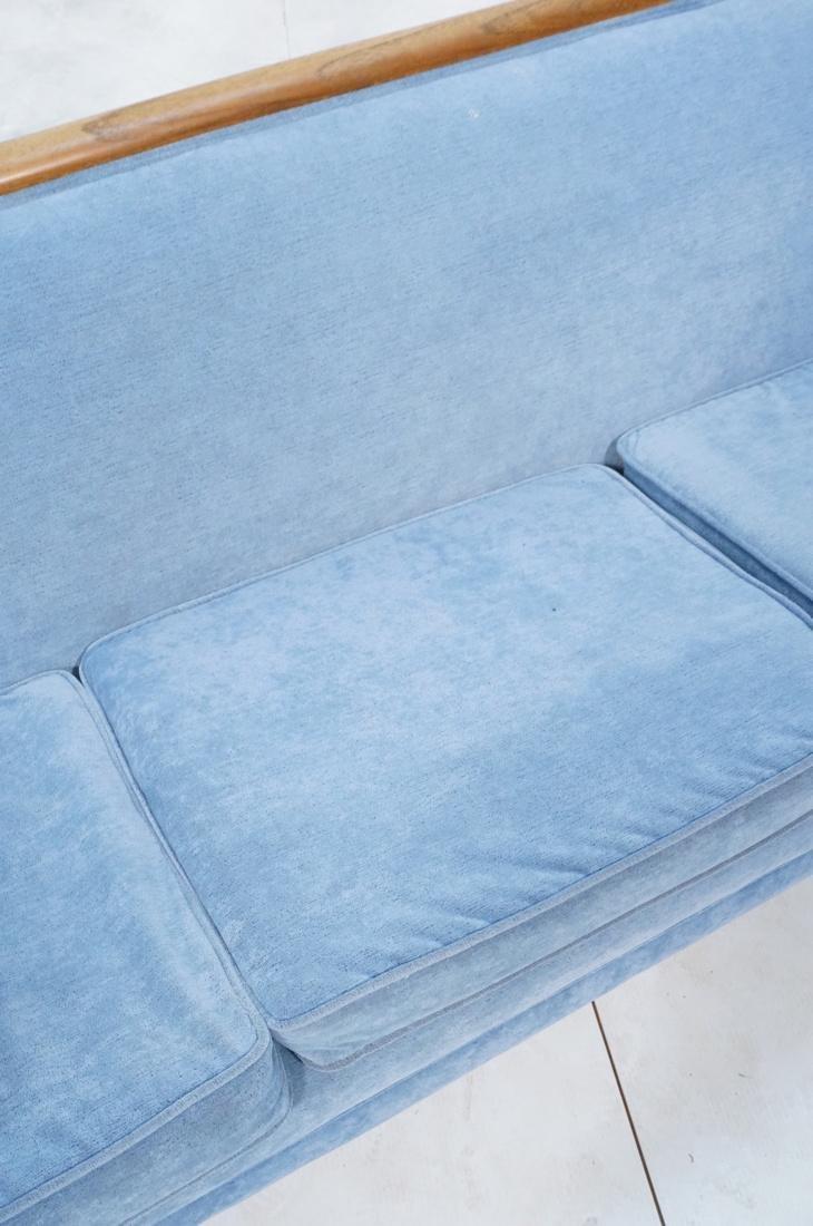 Modernist Teak Sofa Couch. Wedgwood Blue Fabric. - 3