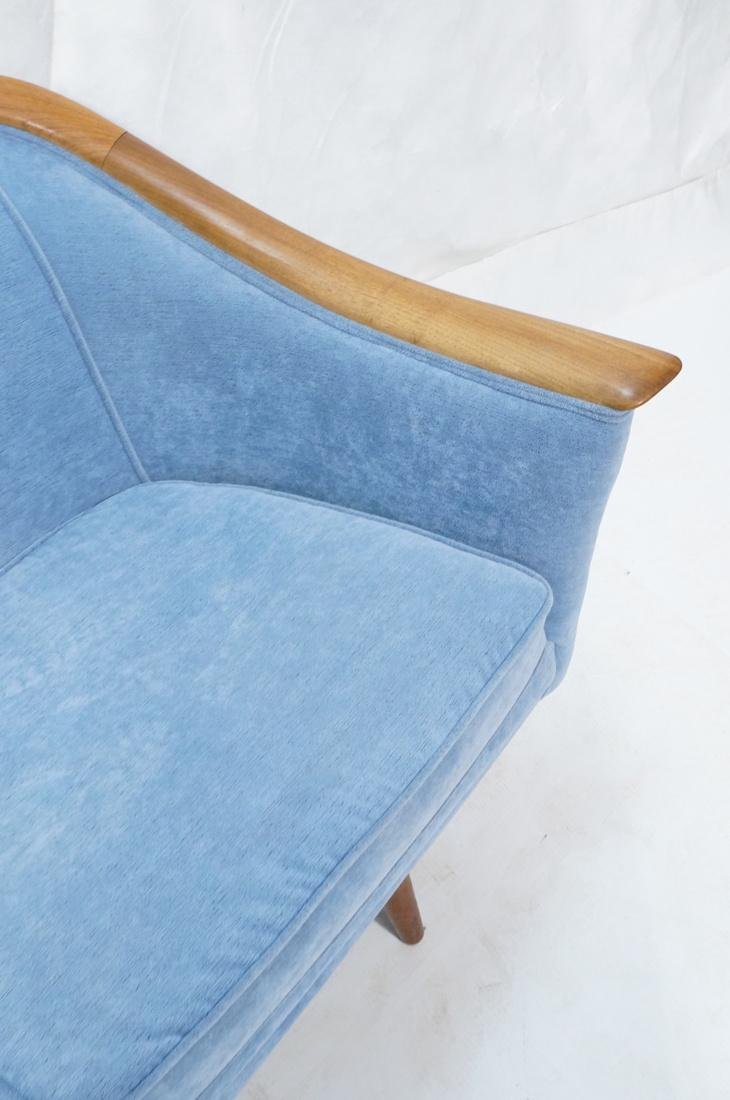 Modernist Teak Sofa Couch. Wedgwood Blue Fabric. - 4
