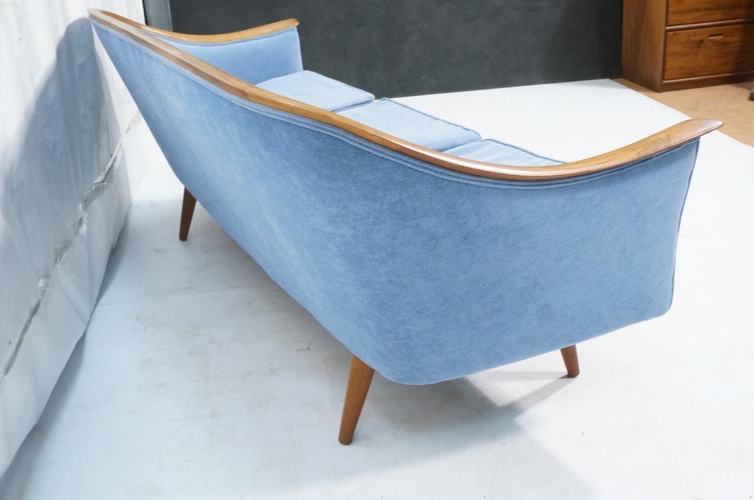 Modernist Teak Sofa Couch. Wedgwood Blue Fabric. - 7