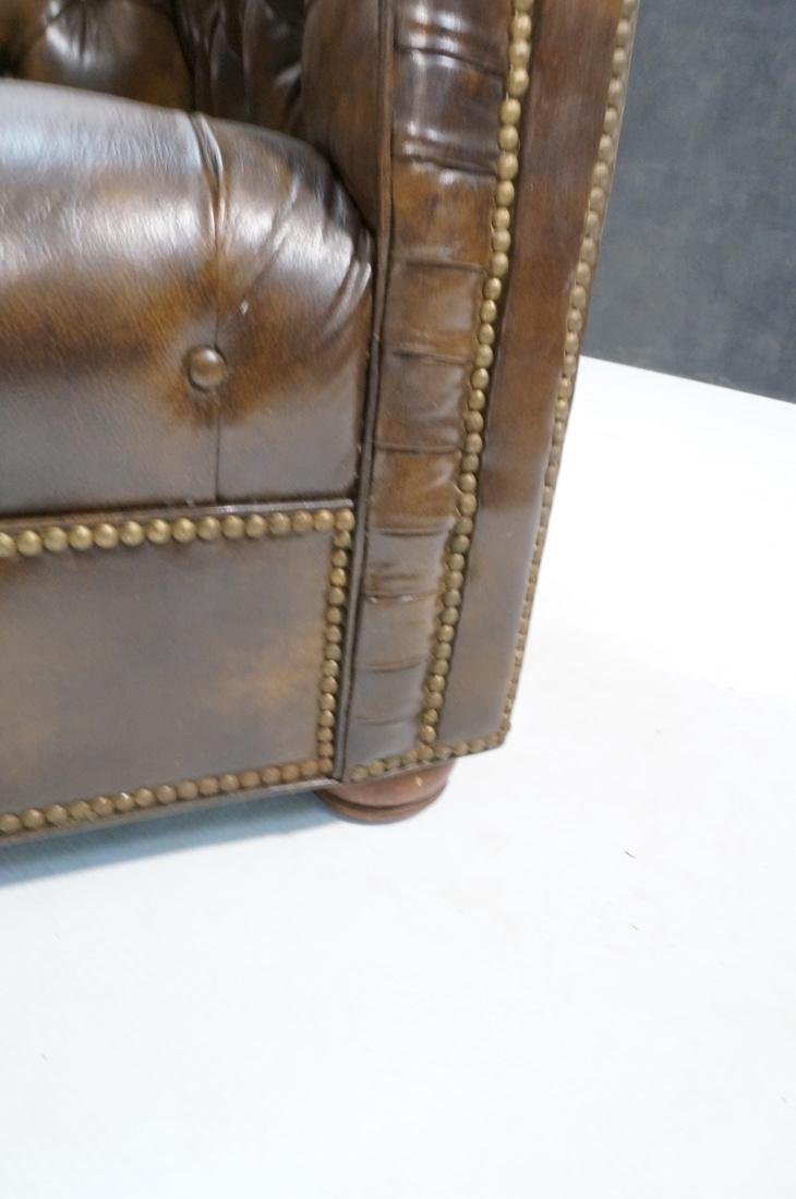 Brown Leather Chesterfield Love Seat Sofa. Rolled - 10