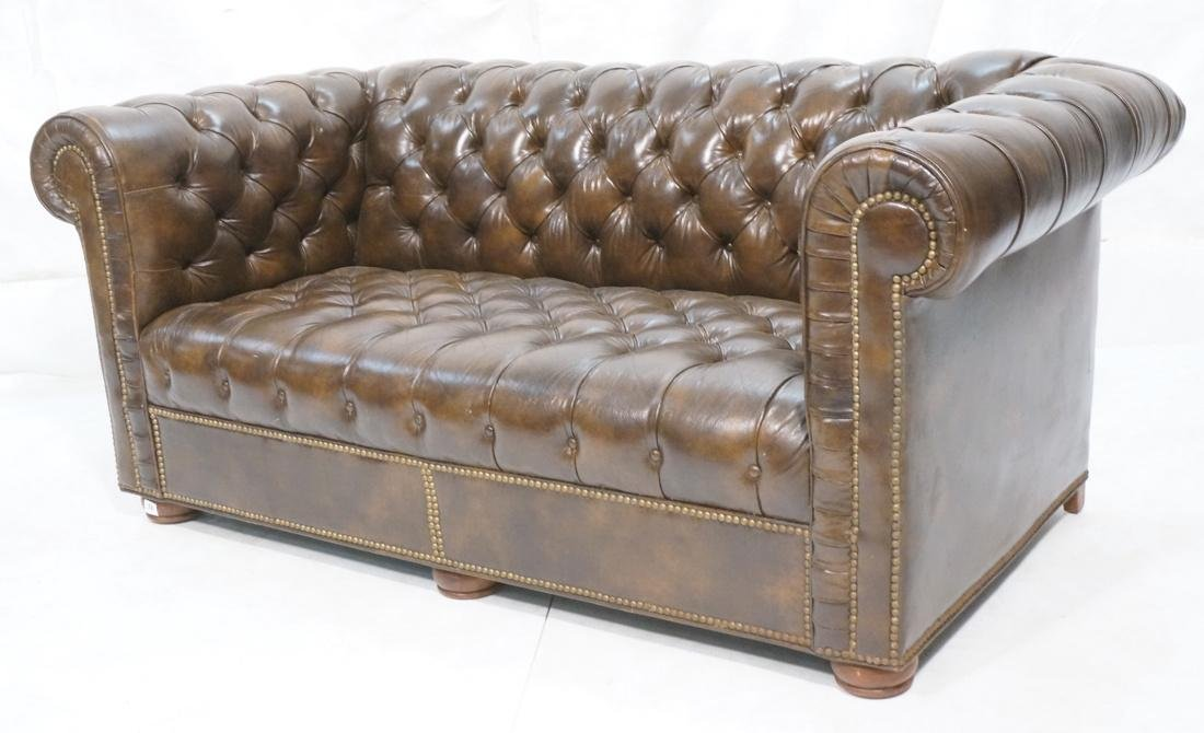 Brown Leather Chesterfield Love Seat Sofa. Rolled