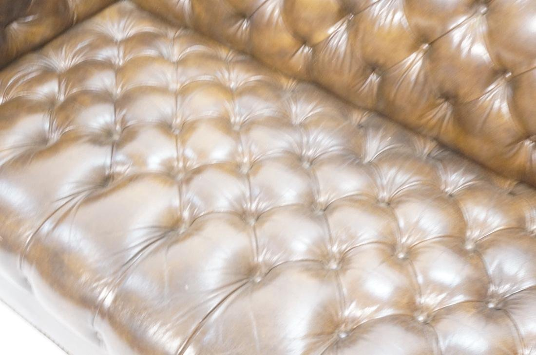 Brown Leather Chesterfield Love Seat Sofa. Rolled - 3