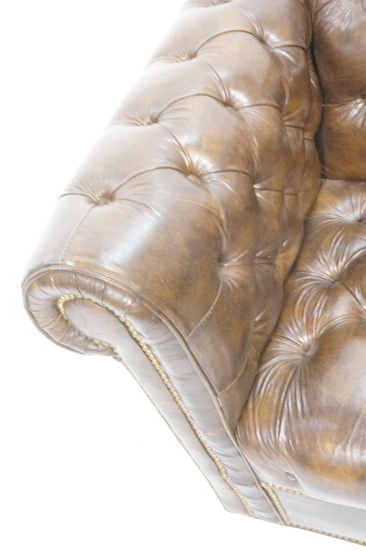 Brown Leather Chesterfield Love Seat Sofa. Rolled - 4