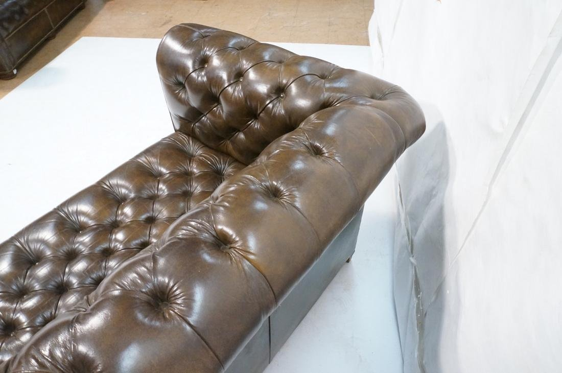 Brown Leather Chesterfield Love Seat Sofa. Rolled - 6