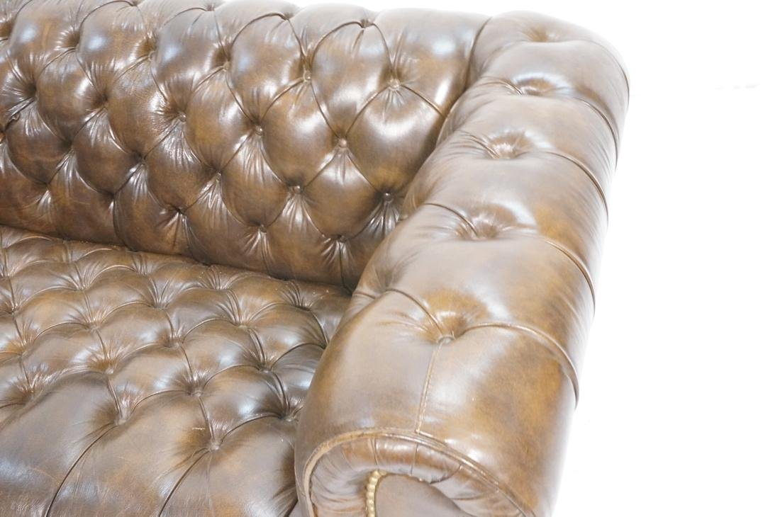 Brown Leather Chesterfield Love Seat Sofa. Rolled - 2