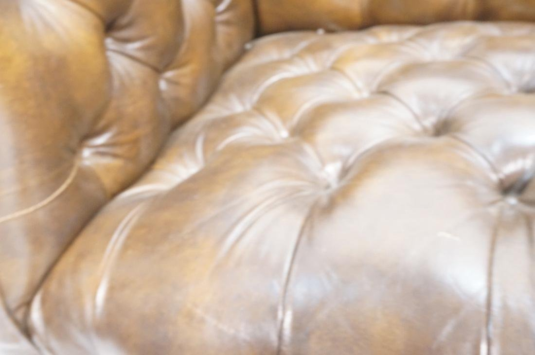 Brown Leather Chesterfield Love Seat Sofa. Rolled - 5