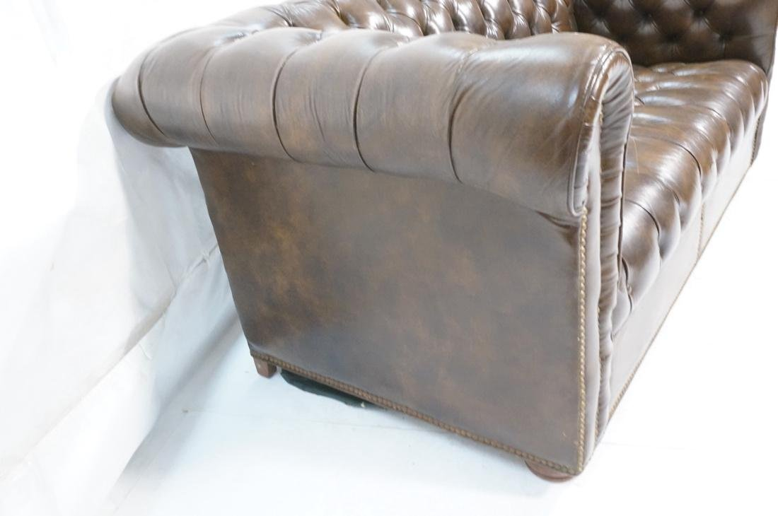 Brown Leather Chesterfield Love Seat Sofa. Rolled - 7
