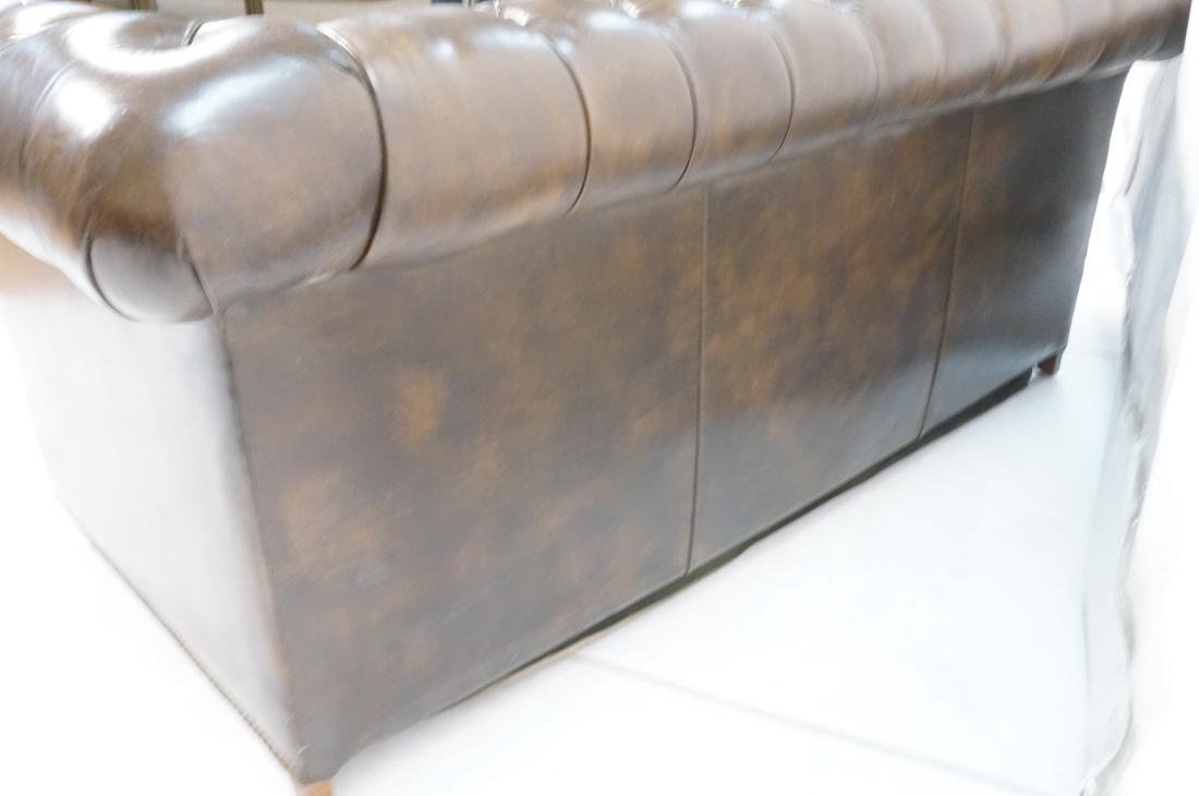 Brown Leather Chesterfield Love Seat Sofa. Rolled - 8