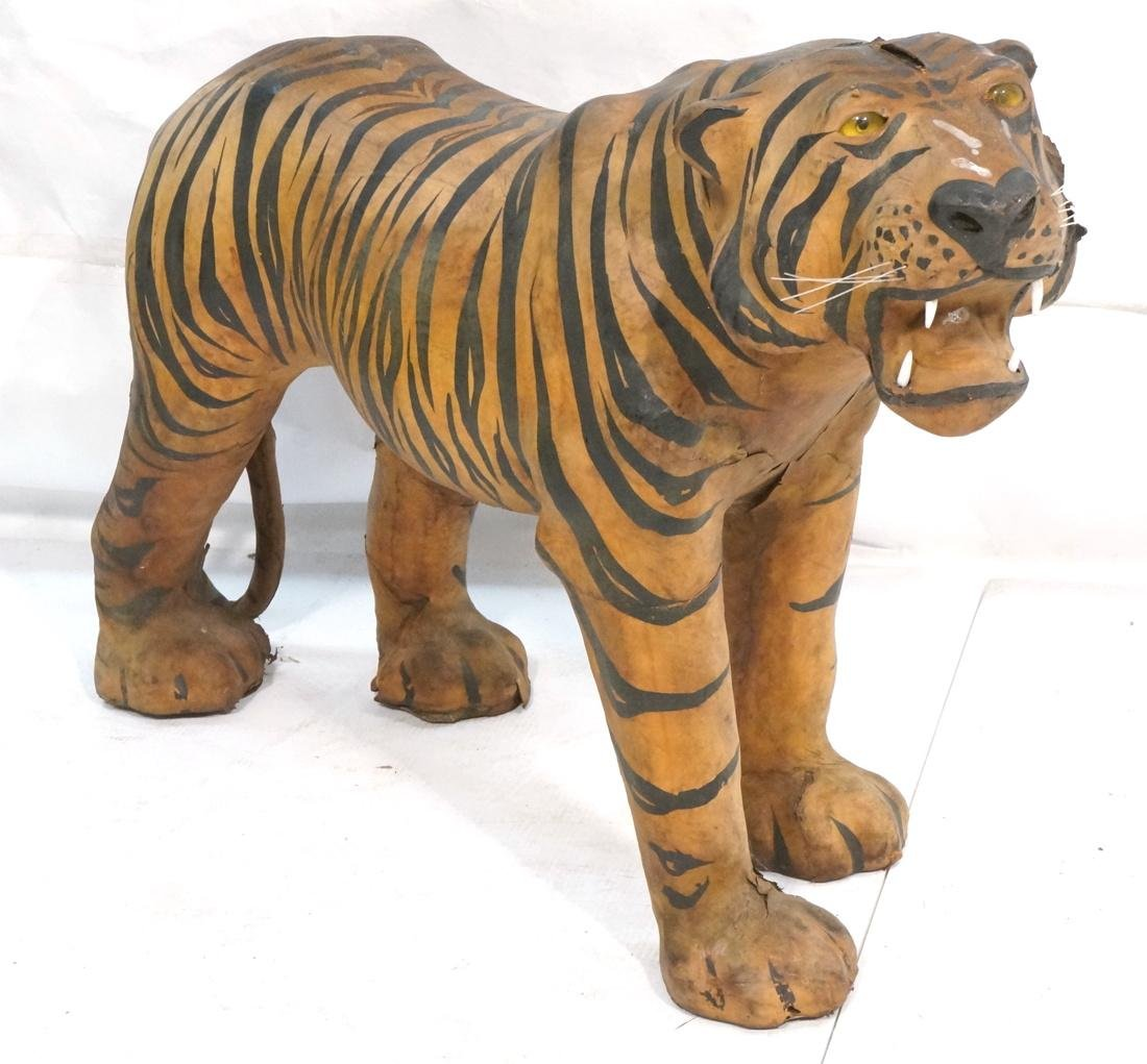 Leather Tiger Naturalist Sculpture.