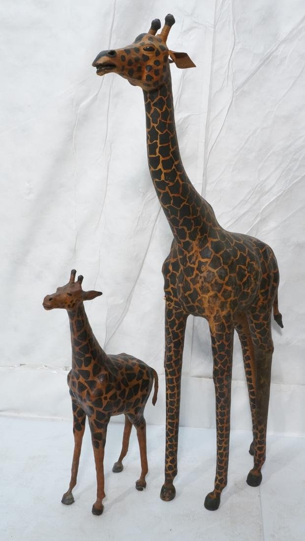 2 Leather Giraffe Naturalist Sculptures. Brown le