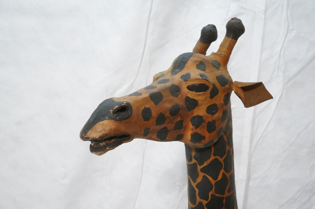2 Leather Giraffe Naturalist Sculptures. Brown le - 2