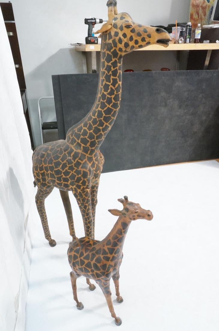 2 Leather Giraffe Naturalist Sculptures. Brown le - 8