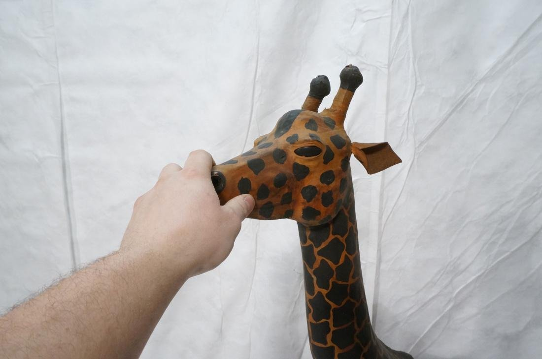 2 Leather Giraffe Naturalist Sculptures. Brown le - 9