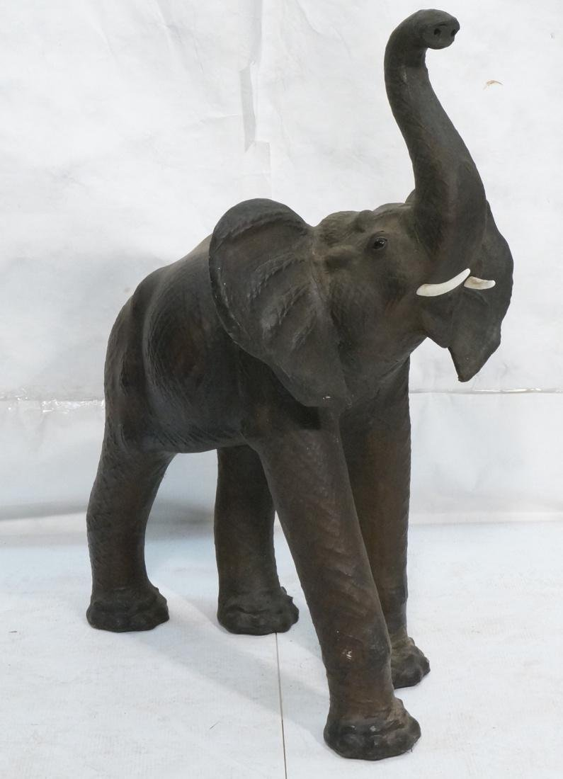 Large Elephant Naturalist Sculpture Leather with