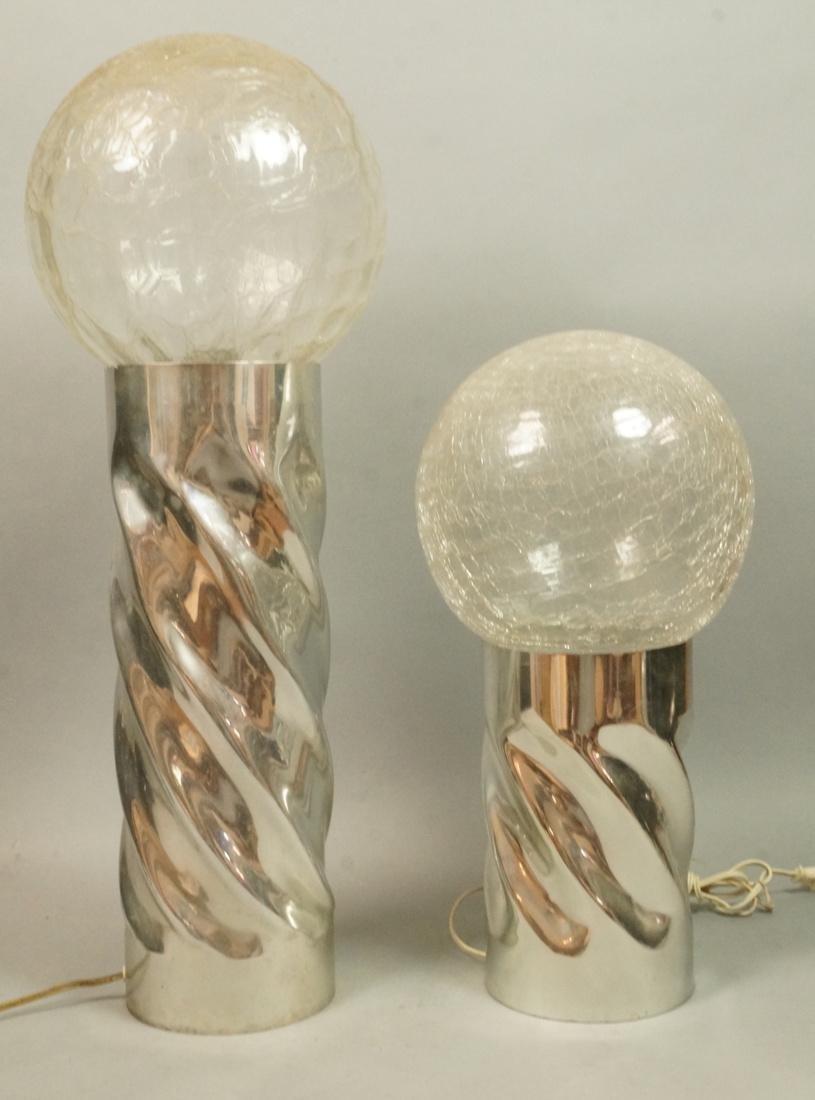 Set 2 Aluminum Twisted pillar Column Table Lamps.