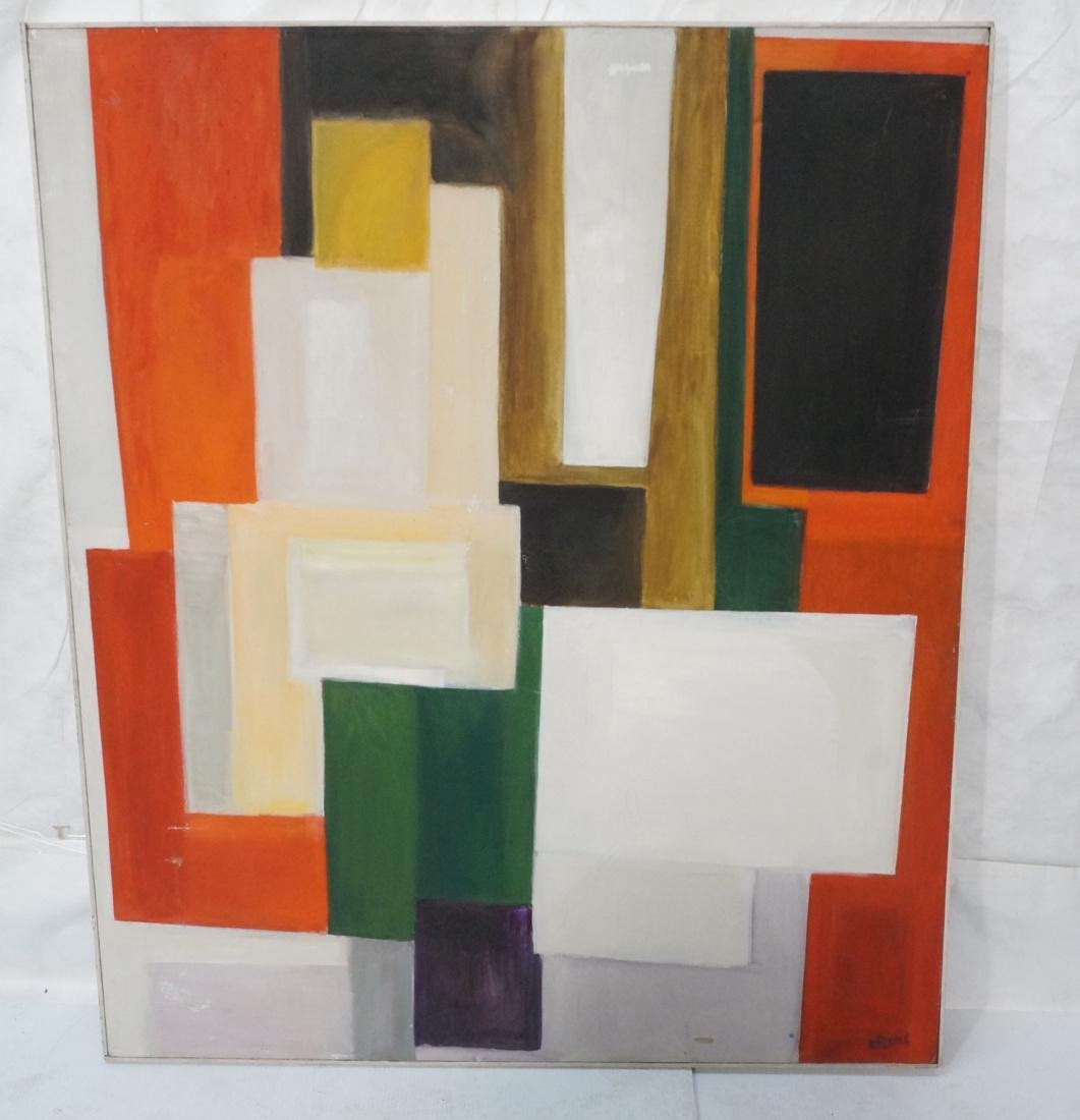 MAY BENDER Modernist Oil Painting. Color blocked.