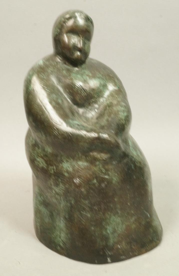IRMA BARNESS Bronze Figural Sculpture Seated Woma
