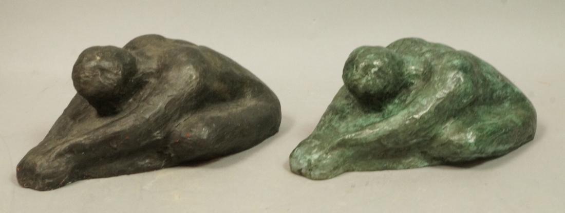 2 Pc IRMA BARNESS Bronze Figural Sculpture & Clay