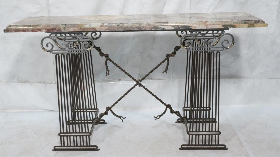 Marble Top Hall Console Decorator Table. Metal le