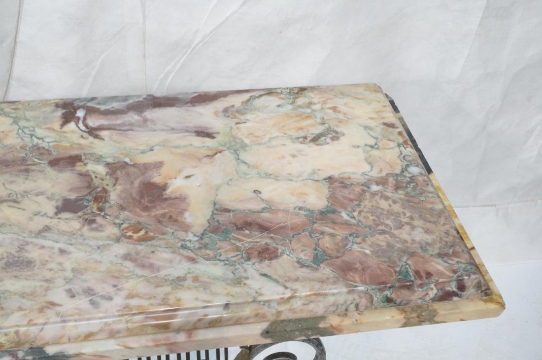 Marble Top Hall Console Decorator Table. Metal le - 4