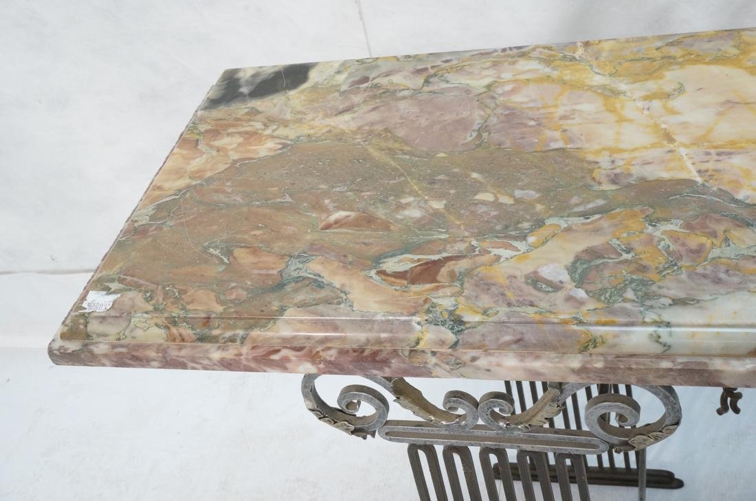 Marble Top Hall Console Decorator Table. Metal le - 5
