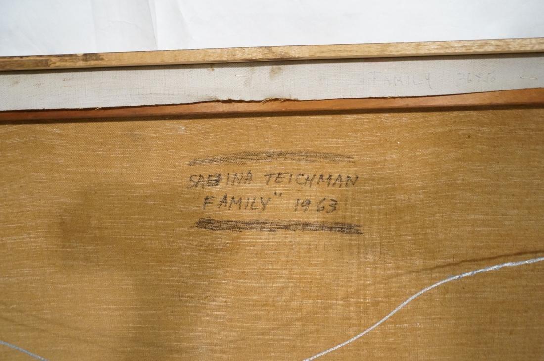 """SABINA TEICHMAN Oil on Canvas """"Family"""". Framed. N - 10"""